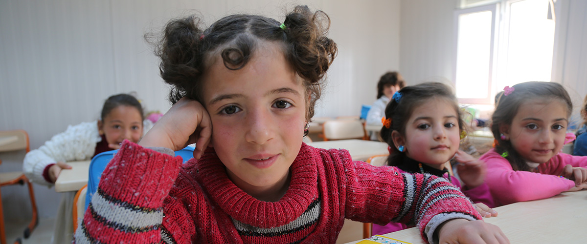 On 22 April 2015, children in classroom at the opening of a new education centre for Syrian children in Kahramanmaras. The UNICEF-supported education centre was built in partnership with the Turkish Disaster and Emergency Management Authority (AFAD) and the Ministry of National Education, with financial support from the European Commission.